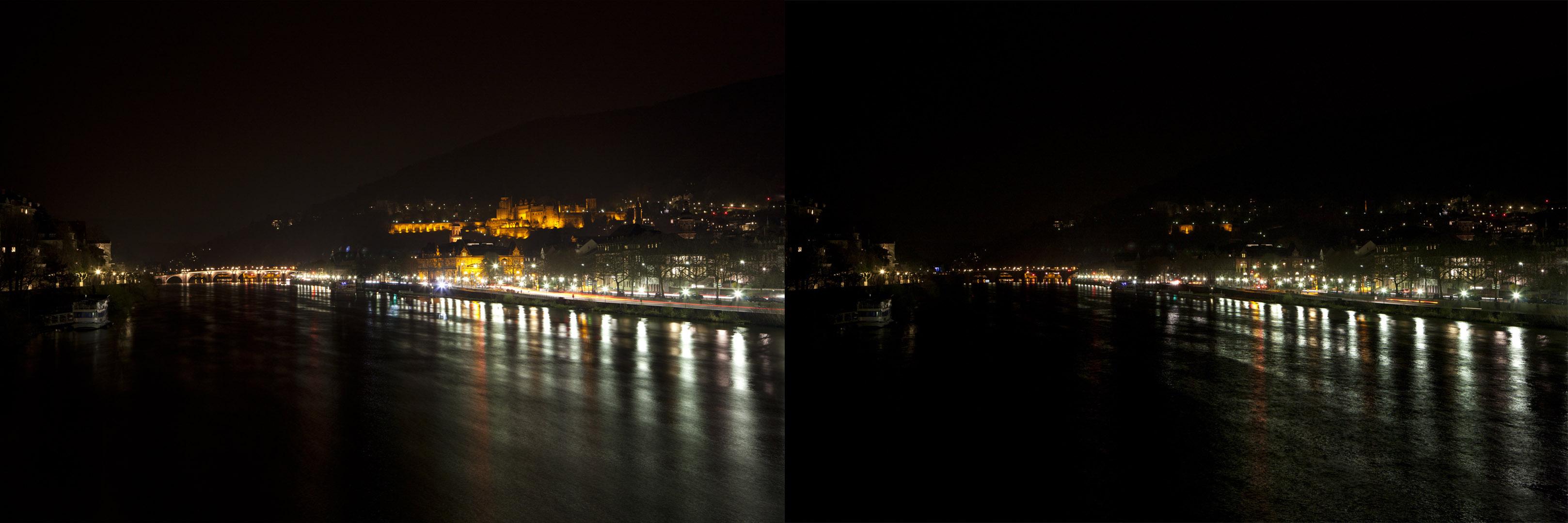 EARTH-HOUR 2011: Auch Heidelberg schaltet für 1 Stunde den Strom ab. Blick von der Theodor-Heuss-Brücke. (Foto: Buck)